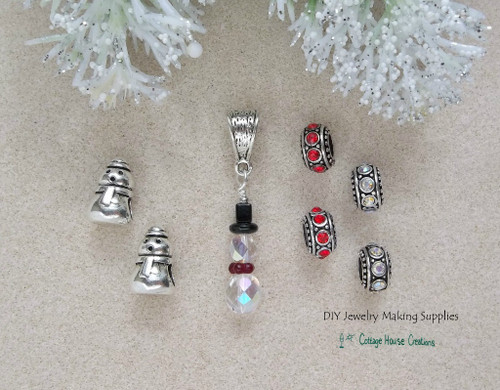 Snowman Charm Beads Crystal Dangle European Bead 7pc Set for Charm Bracelets DIY