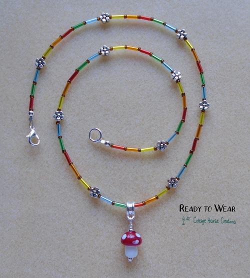 Mushroom Indie Rainbow Necklace Ready to Wear