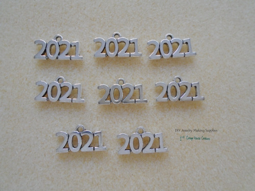 2021 Year (8pc.) Small Charms Silver Worded Graduation Celebration Sports Wedding Birth Announcement Jewelry Making Supply Lead Free Pewter