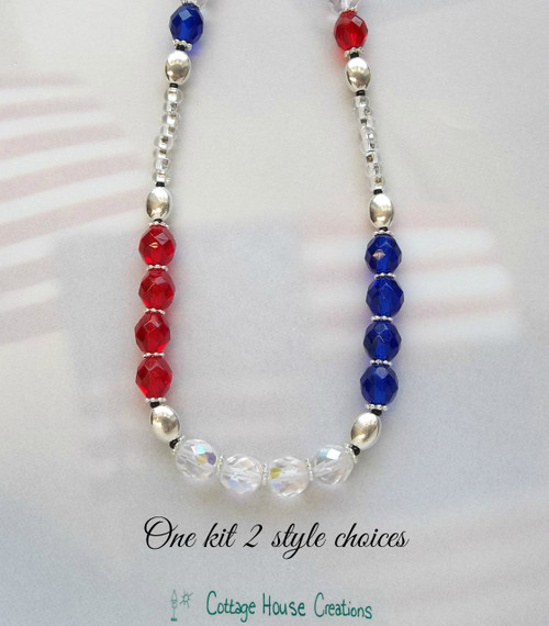 American Colors! Patriotic RED WHITE and BLUE Necklace Making Kit