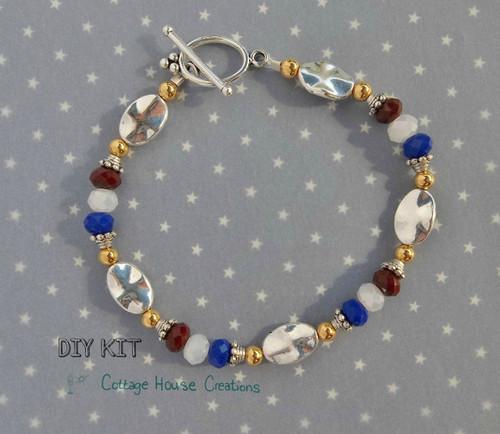 Red White & Blue~ Beaded Jewelry Making Bracelet Photo Instruction Bracelet Kit