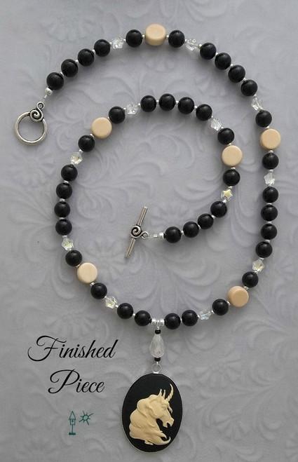 Necklace Cameo Unicorn Black Beaded Necklace