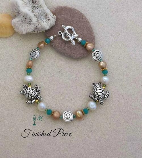 Bracelet Turtles Sea Shells Fresh Water Pearl Beaded Bracelet