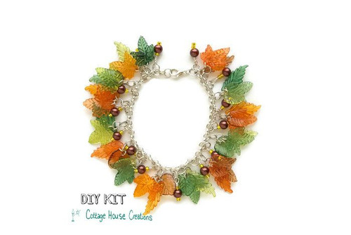 Falling Leaves Autumn Colors Cha-Cha Bracelet Making Kit with Photo Instructions