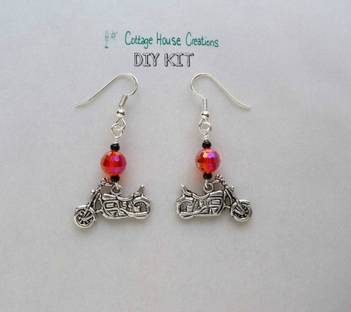 Motorcycle Biker Chic Beaded Earring Kit Jewelry Making Supplies DIY