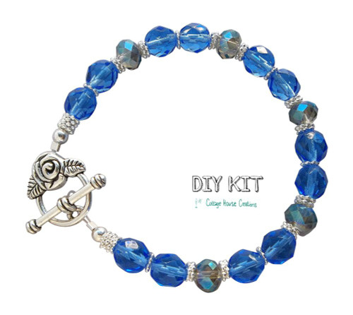 Sapphire Rose DIY Jewelry Making Bead Kit with Photo Step by Step Instructions