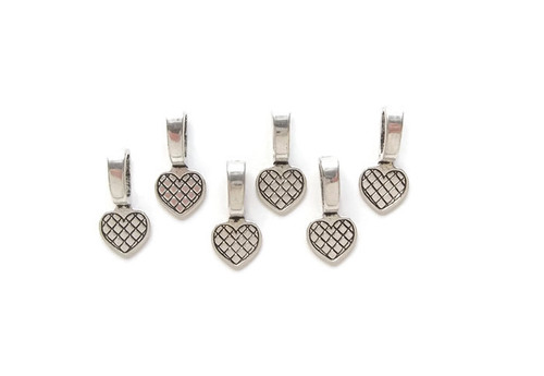 Antiqued Silver Glue on Heart Bail