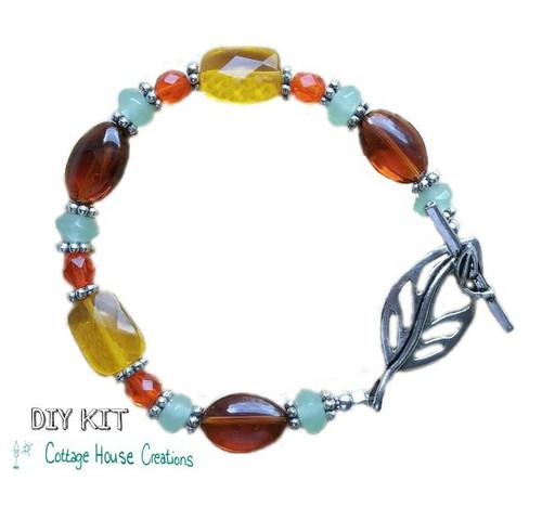 Autumn Air  Glass Beaded Bracelet DIY Supplies Bead Kit