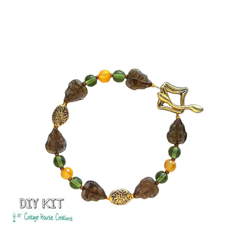 "Autumn ""Changing Leaves"" Fall Colors Czech Bead Bracelet Making Kit DIY"