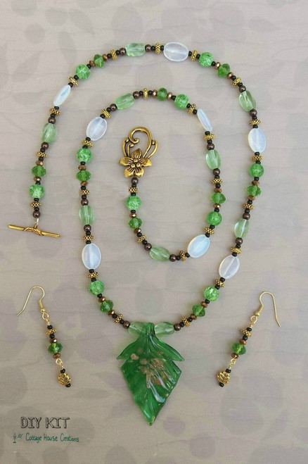 """Green Leaf Glass Pendant Necklace Kit """"Chloé"""" Adult Jewelry Making Kit"""