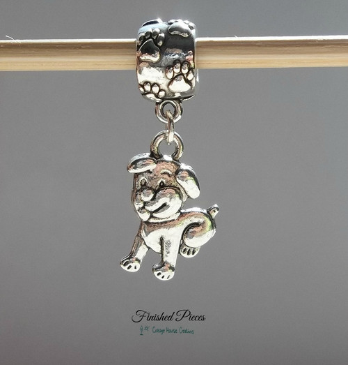 Finshed Pieces Euro Puppy Dog Charm for European Style Bracelets