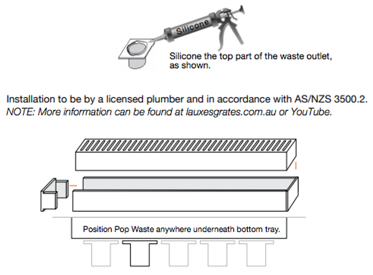 Aluminium Lauxes Linear Grate Grill Wide Style  - Installation Guide