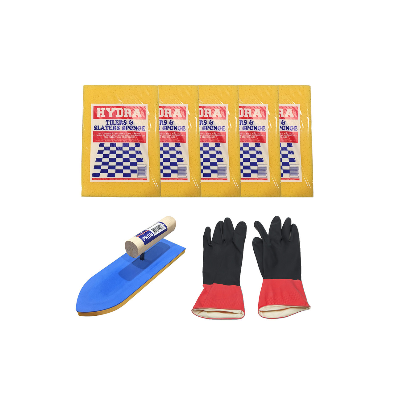 Grouting Kit - Hydra Sponge Premium (5 units) + Pointed Grout Float Kit + Rubi Lined Grouting Gloves