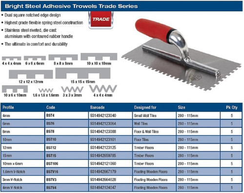 Notch Trowel 1.6mm V Bright Steel