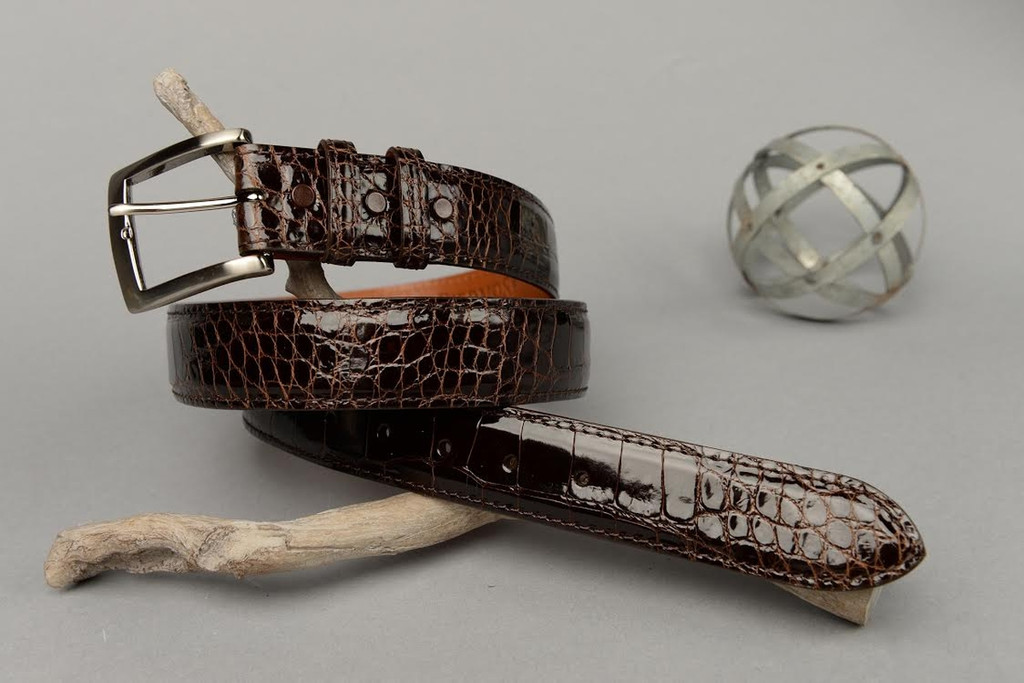 Glazed Brown American Alligator Belt with Matching Edge and Stitch.