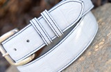 Matte Caiman Crocodile Belt - White