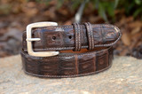 Matte Caiman Crocodile Belt - Brown