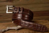 One Piece Matte Alligator Belt - Brown