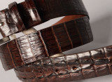 Matte Caiman Hornback Crocodile Belt - Matte Brown (horns on the tip)