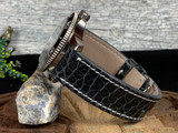 Alligator Watch Band - Glazed Dark Grey