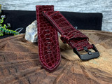 Alligator Watch Band - Glazed Maroon