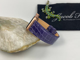 Ladies Glazed Alligator Apple Watch strap -  Purple