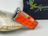 Ladies Glazed Alligator Apple Watch strap - Sunset Orange