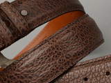 Brown Bison belt shown with matching stitch and edge.