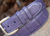 Matte Caiman Crocodile Belt - Purple