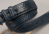 Navy Python Belt with Matching Stitch and Edge