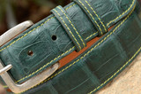 Matte Caiman Crocodile Belt - Augusta Green