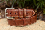 Matte Caiman Crocodile Belt - Burnished Cognac