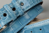 Glazed Baby Blue American Alligator Belt with Matching Edge and Stitch.