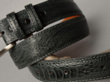 Ostrich Shin Belt - Dark Grey