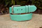 Ostrich Shin Belt - Tiffany Blue