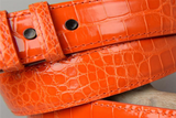 Sunset Orange Alligator Belt with matching thread and edge.