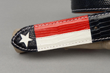 Navy Lizard belt with white and red lizard Texas flag inlay.