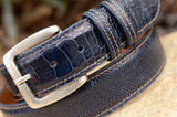 Glazed Navy with Cognac Stitch