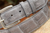 Matte Caiman Crocodile Belt - Light Steel Grey