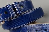 Royal Blue Lizard With White Stitch and Edge.   ( More stitch and edge options in build your unique lizard belt )