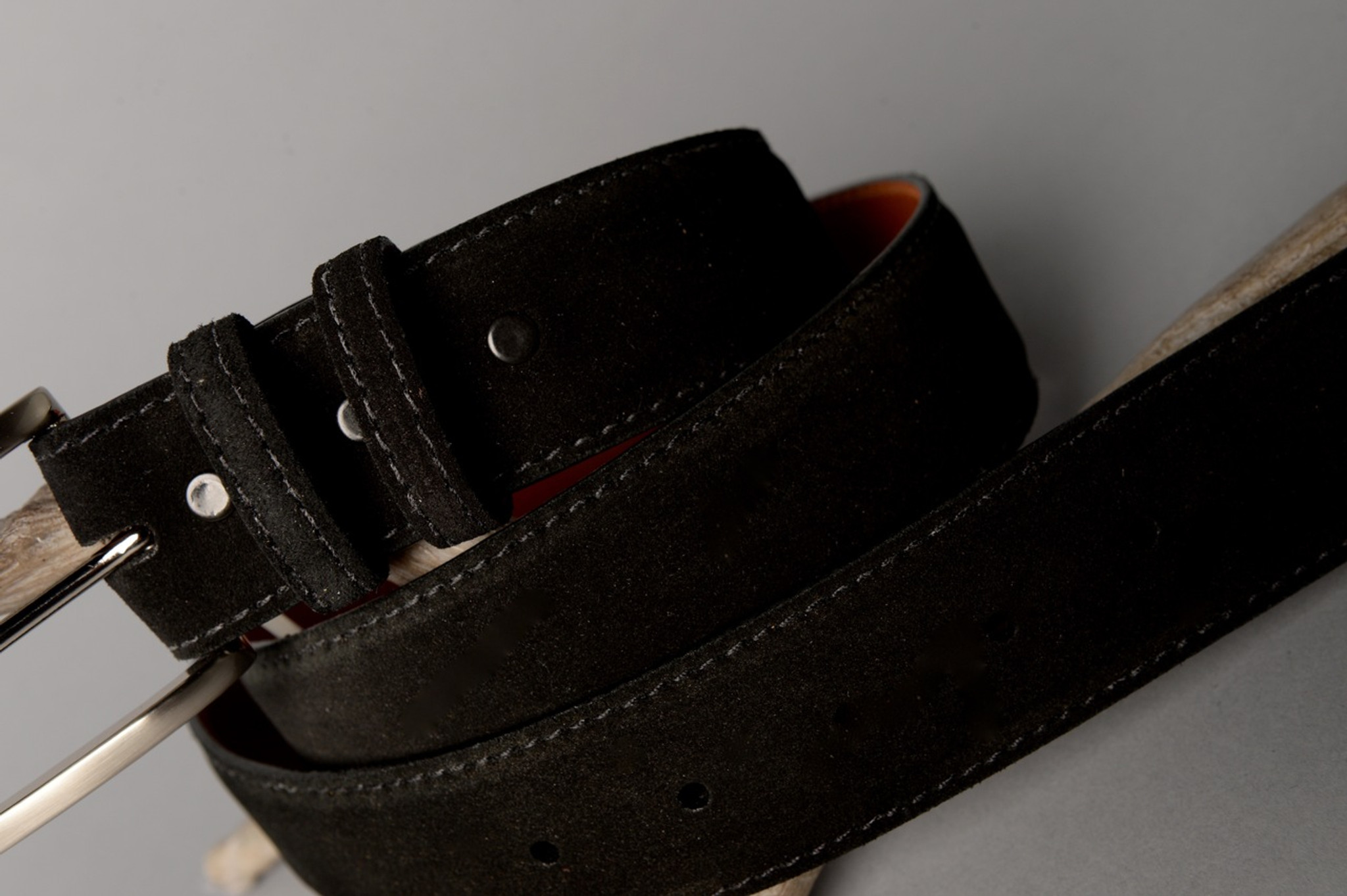 Suede calfskin belt - Black