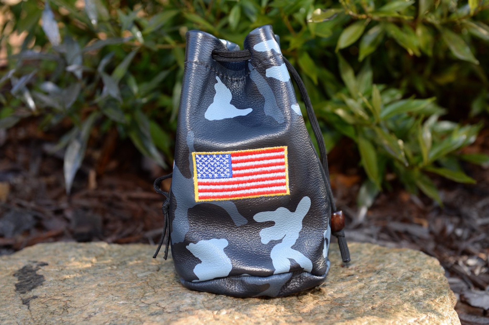 Leather  Valuables Pouch - Navy Camo w/ USA flag