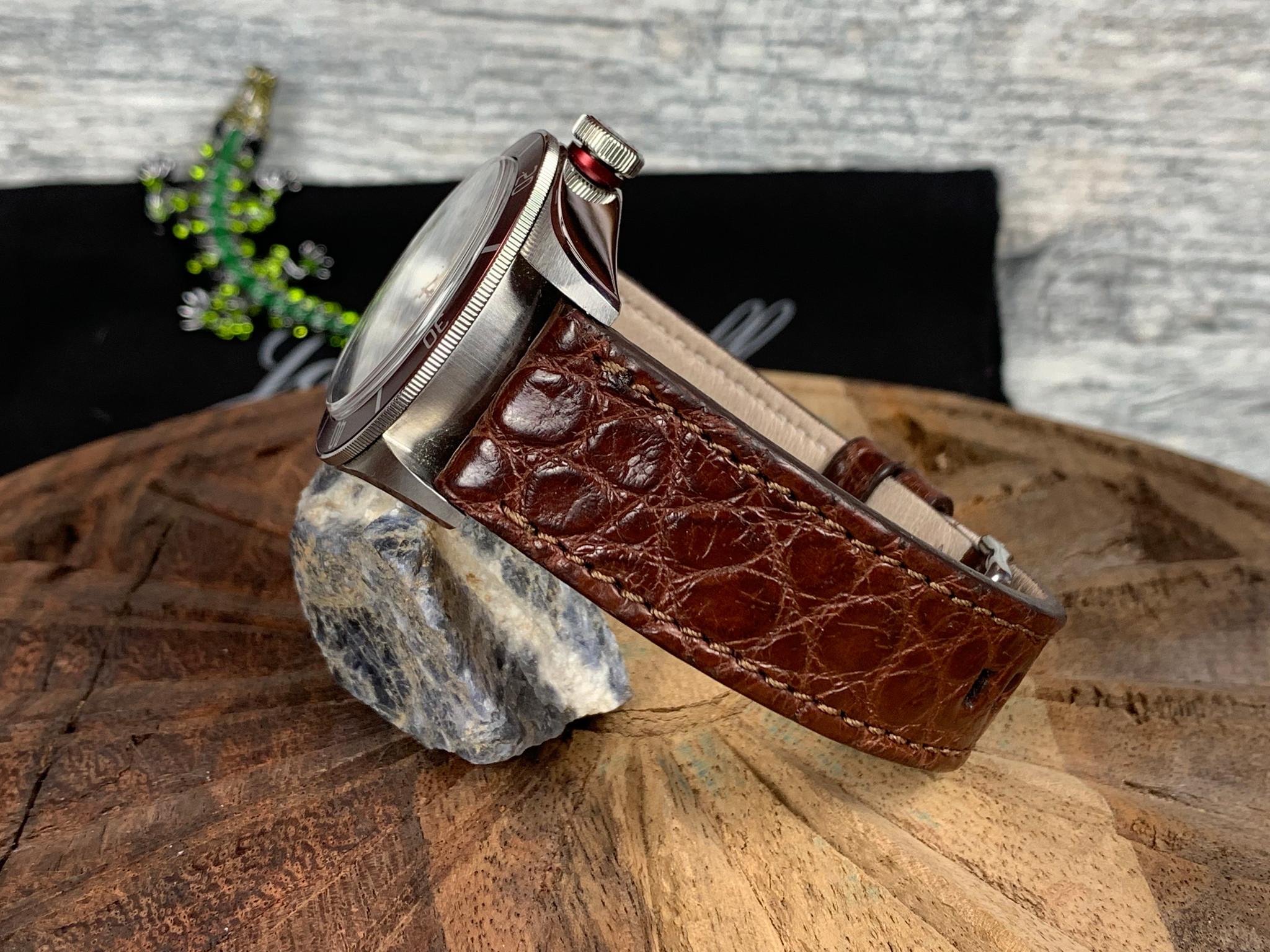 Alligator Watch Band - Matte Dark Cognac