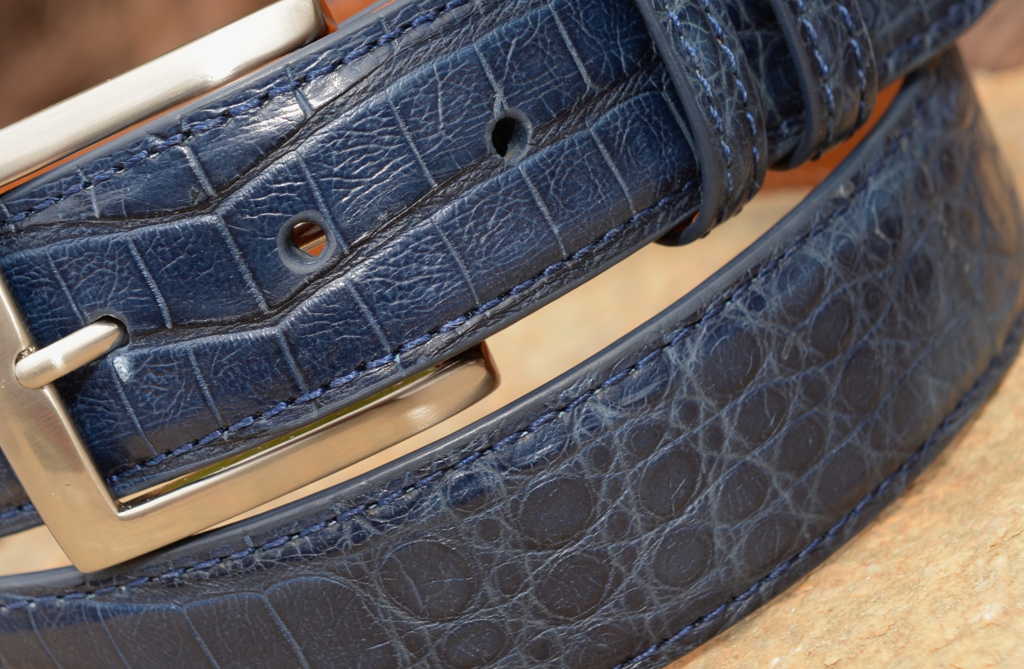 Marsh Caiman Crocodile Belt - Navy Blue