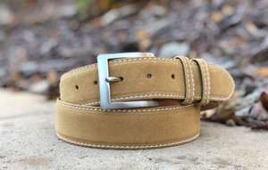 Suede calfskin belt - Tan