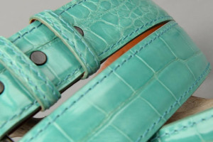 Tiffany Blue Alligator Belt with matching thread and edge.