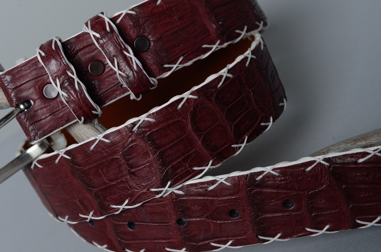 Matte Caiman Crocodile Belt - Maroon (shown with optional hand laced X stitch & white edge)