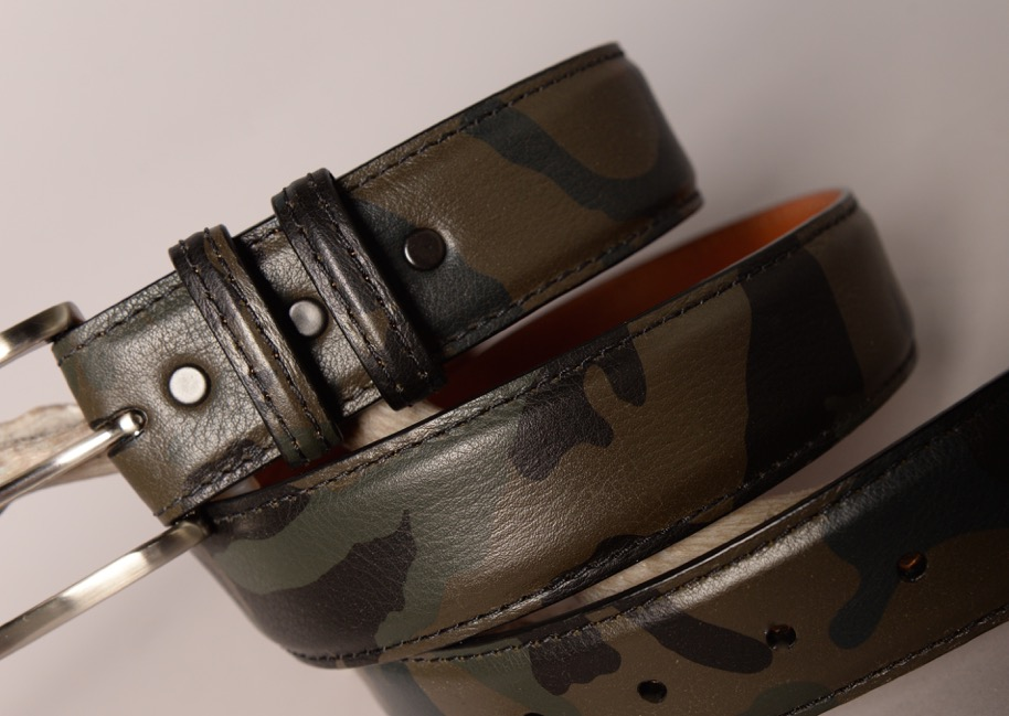 Italian Pebble grain Leather belt - Green Camo