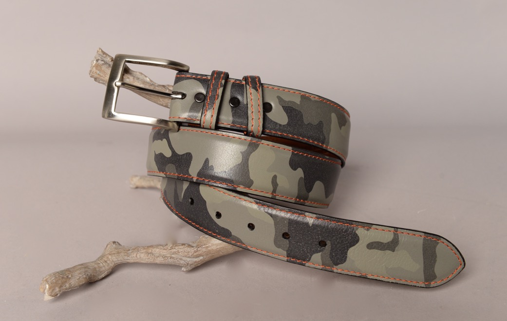 Italian Pebble grain Leather belt - Light Grey Camo