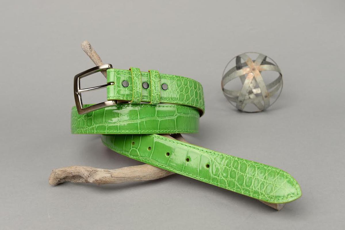 Glazed Lime American Alligator Belt with Matching Edge and Stitch